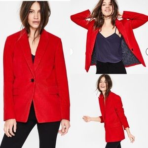 Boden Oxshott Cord blazer Post box red NWT jacket
